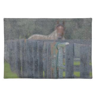 抽出されるの後ろの馬が付いている塀grunged ランチョンマット