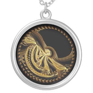 抽象デザインのネックレス シルバープレートネックレス