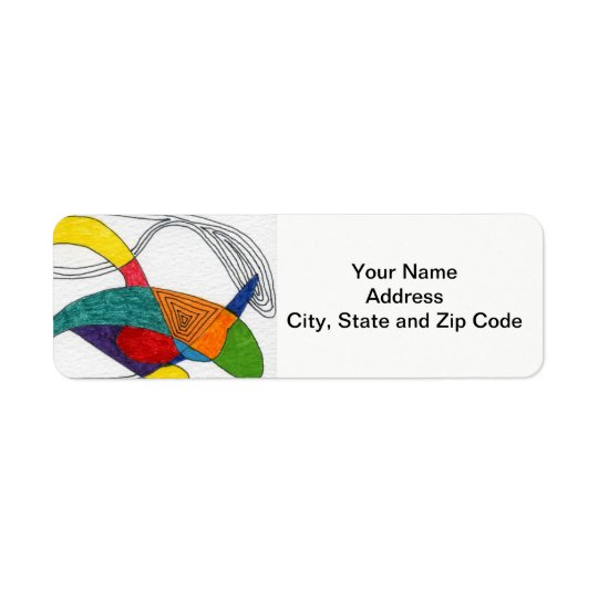 抽象デザインの差出人住所ラベル、ブーメラン 返信用宛名ラベル