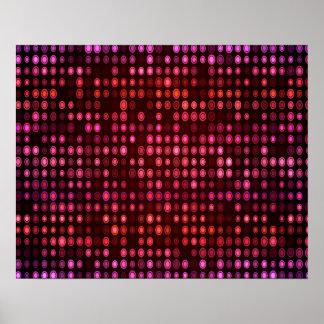 抽象デザインの幾何学的な紫色および薄紫の円 ポスター