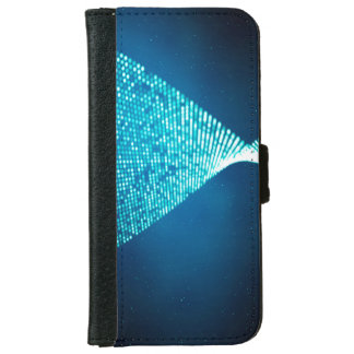 抽象デザイン青いBackroundおよび銀Spectum iPhone 6/6s ウォレットケース
