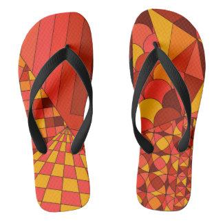 抽象デザイン1の赤く広い革紐のビーチサンダル ビーチサンダル