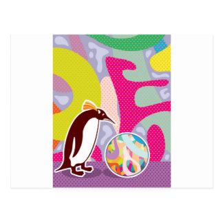 抽象的でアートなPinguin ポストカード