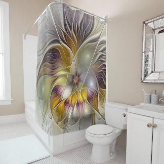 抽象的でカラフルなファンタジーの花のモダンのフラクタル シャワーカーテン