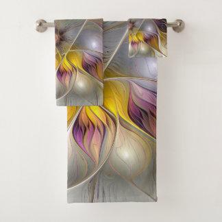 抽象的でカラフルなファンタジーの花のモダンのフラクタル バスタオルセット