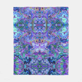 抽象的でサイケデリックな紫色によって大理石模様をつけられるパターン フリースブランケット