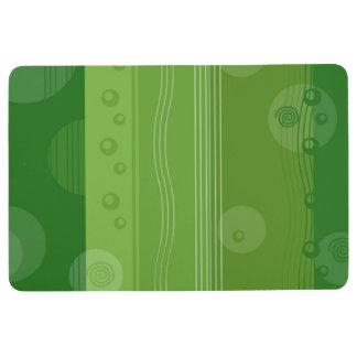 抽象的でストライプで航海のでモダンな緑パターン フロアマット