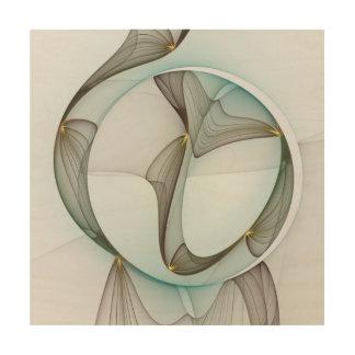 抽象的でモダンなターコイズのブラウンの金ゴールドの優雅 ウッドウォールアート