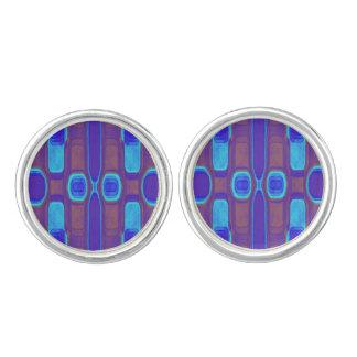 抽象的でモダンなパターン青い紫色のブラウン カフスボタン