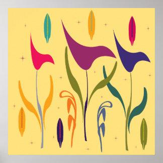 抽象的でモダンな水彩画のオランダカイウユリの印象 ポスター