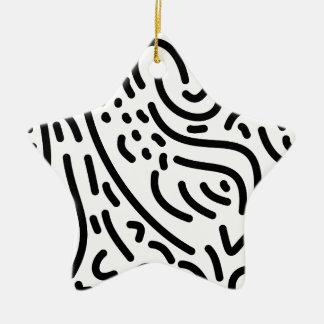 抽象的でモダンな白黒落書きメンフィス セラミックオーナメント