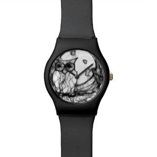 抽象的で不機嫌なフクロウ 腕時計