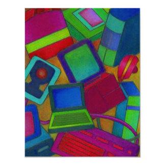 抽象的で多彩なコンピュータ発表の招待 カード