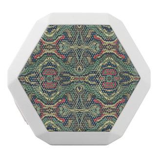 抽象的で多彩な手描きの巻き毛パターンデザイン ホワイトBluetoothスピーカー