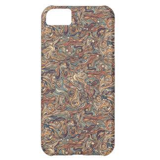 抽象的で多彩な手描きの巻き毛パターンデザイン iPhone5Cケース