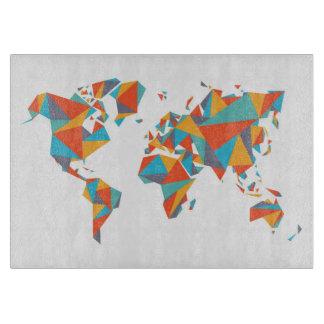 抽象的で幾何学的な世界地図 カッティングボード