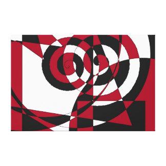 抽象的で幾何学的な形、渦巻赤く白い黒 キャンバスプリント