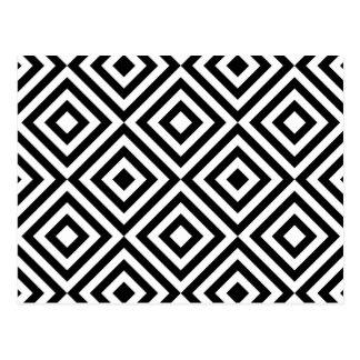 抽象的で幾何学的な正方形パターン、白黒 ポストカード