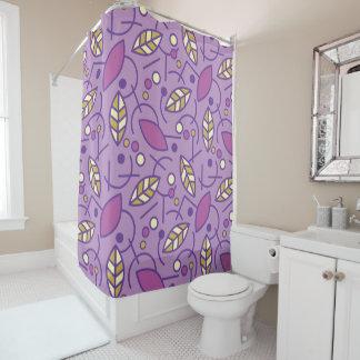 抽象的で幾何学的な紫色の継ぎ目が無いパターン シャワーカーテン