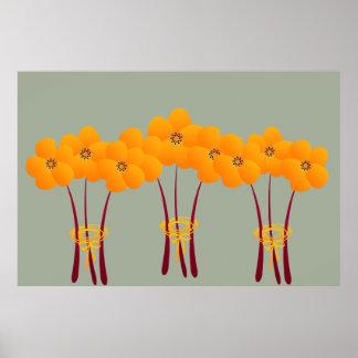 抽象的で明るいオレンジアネモネの花束のコラージュ ポスター
