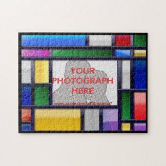 抽象的で明るいカラー写真フレーム ジグソーパズル