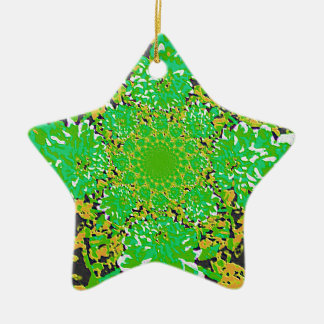 抽象的で緑黄色い花のダリアの花模様 セラミックオーナメント