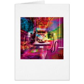 抽象的で芸術品を気取ったな挨拶状-電話レトロ カード