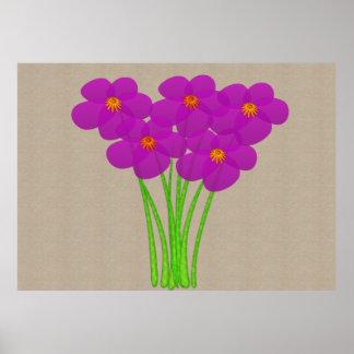 抽象的で薄い紫色のアネモネのコラージュ ポスター