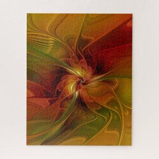 抽象的で赤いオレンジブラウンの緑のフラクタルの芸術の花 ジグソーパズル