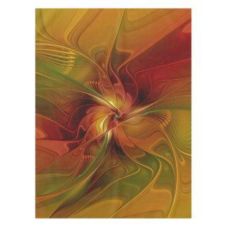 抽象的で赤いオレンジブラウンの緑のフラクタルの芸術の花 テーブルクロス