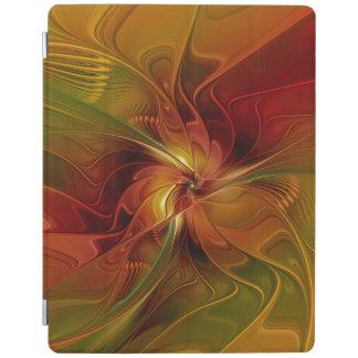 抽象的で赤いオレンジブラウンの緑のフラクタルの芸術の花 iPadスマートカバー