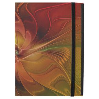 """抽象的で赤いオレンジブラウンの緑のフラクタルの芸術の花 iPad PRO 12.9"""" ケース"""