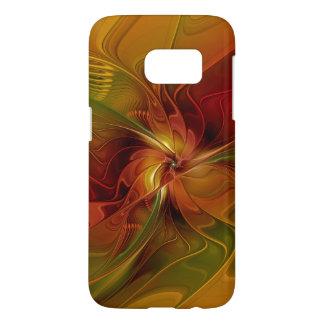 抽象的で赤いオレンジブラウンの緑のフラクタルの芸術の花 SAMSUNG GALAXY S7 ケース