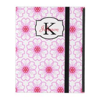 抽象的で赤いピンクの花の落書きのハートパターン iPad ケース