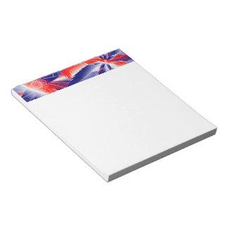 抽象的で赤い白および青 ノートパッド