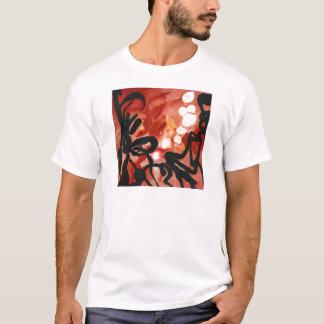 抽象的で赤く素晴しいギアによって溶かされる点 Tシャツ