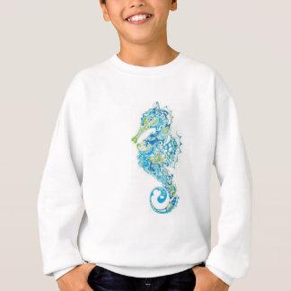 抽象的で青いタツノオトシゴ スウェットシャツ