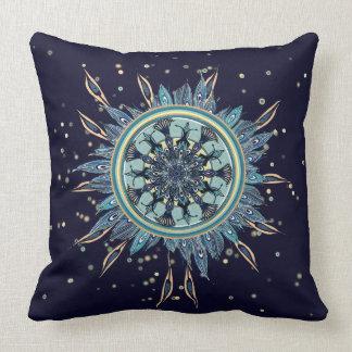 抽象的で青い孔雀の曼荼羅の装飾の枕 クッション