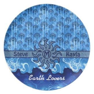 抽象的で青い木の日曜日の地球の海洋波のモザイク プレート