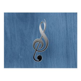 抽象的で青い木製の穀物音楽クレフ、音符記号のノート ポストカード