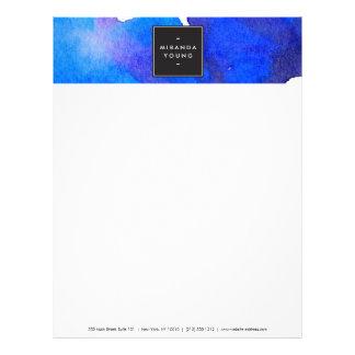 抽象的で青い水彩画レターヘッド レターヘッド