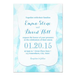 抽象的で青い水晶結婚式 カード