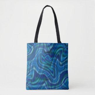 抽象的で青い渦巻のデザイン トートバッグ