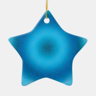 抽象的で青い網 セラミックオーナメント