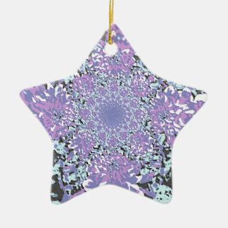 抽象的で青い花のダリアの花模様 セラミックオーナメント