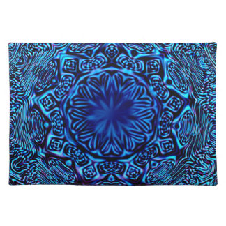 抽象的で青い花のランチョンマット ランチョンマット