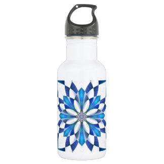 抽象的で青い花柄 ウォーターボトル