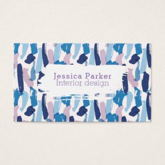 抽象的で青および紫色ブラシストローク 名刺