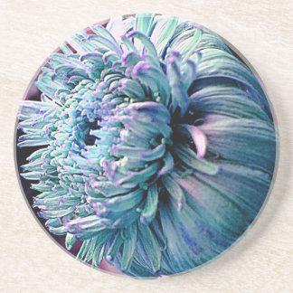 抽象的で青く敏感な花 コースター