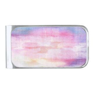 抽象的で青く、ピンクの海の質 シルバー マネークリップ